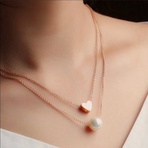 Jewelry - ✨♥️Dainty Heart and Pearl 2 pc Necklace Set♥️✨